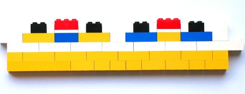 LEGO illustration of a chip cross-section with an NMOS and a PMOS  Silicon Transistor with Oxide Isolation